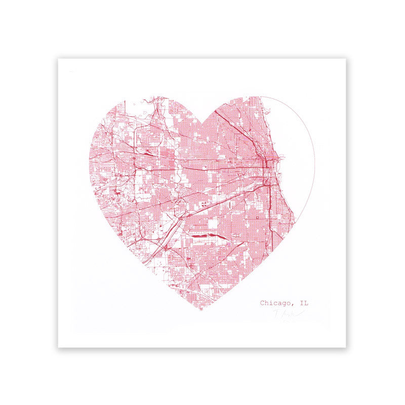 Chicago Heart Map Print TMN Creative - Foursided