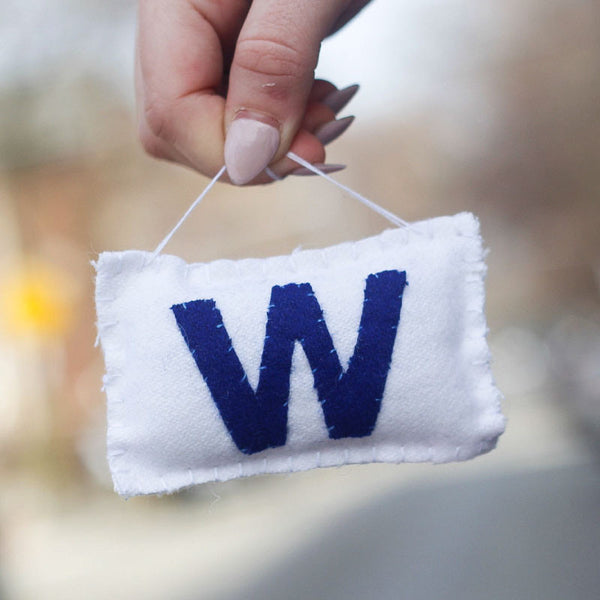 Cubs W Flag Plush Ornament