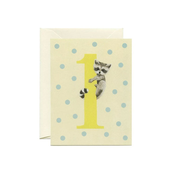 Raccoon First Birthday Card Yeppie Paper - Foursided