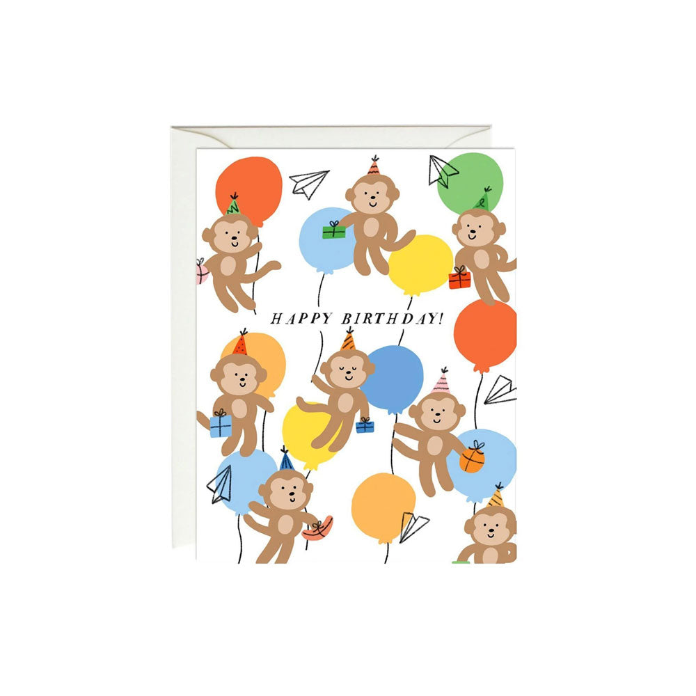 Birthday Monkeys Card Paula & Waffle - Foursided