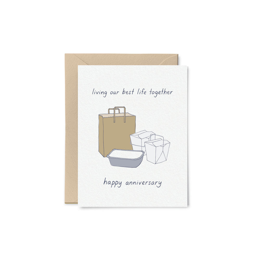 Living Our Best Life Anniversary Card Little Goat Paper Co. - Foursided