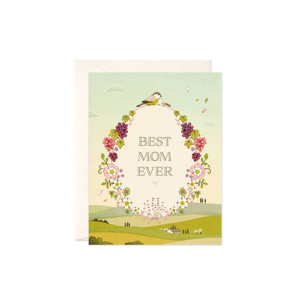 Best Mom Ever Floral Card JooJoo Paper - Foursided