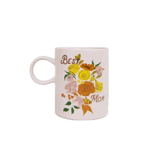 Best Mom Floral Mug Fringe Studio - Foursided