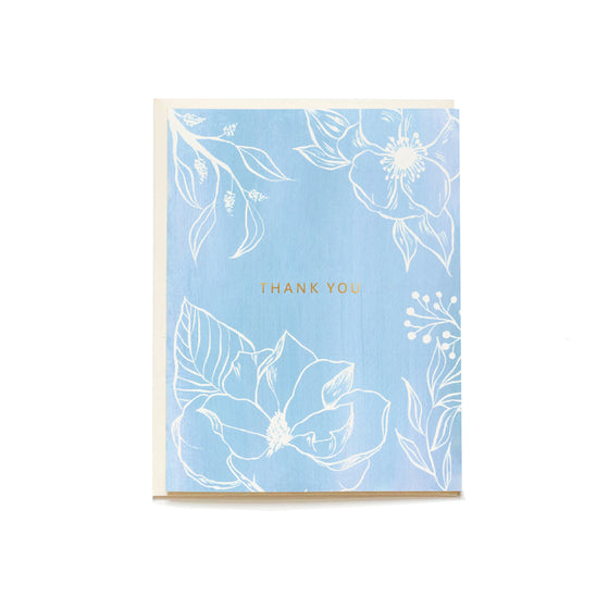 Blue Floral Boxed Thank You Cards