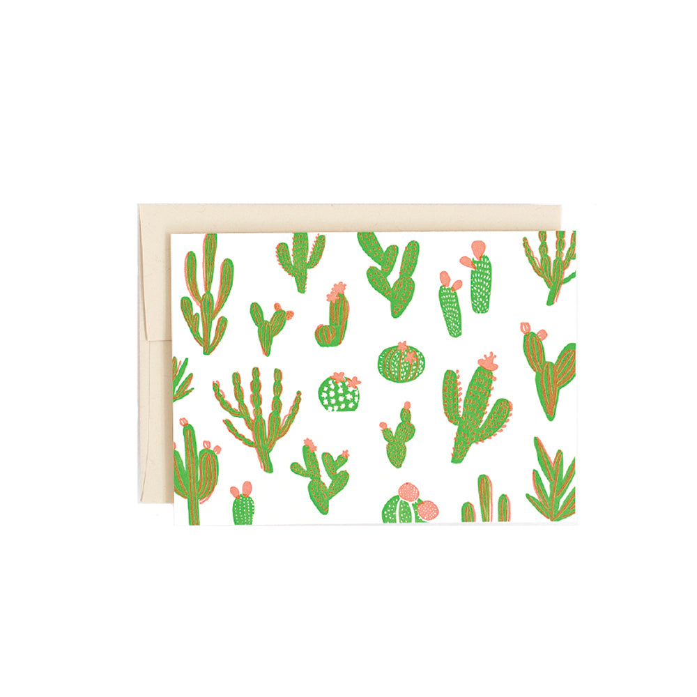 Cute Cacti Card Hello Lucky - Foursided