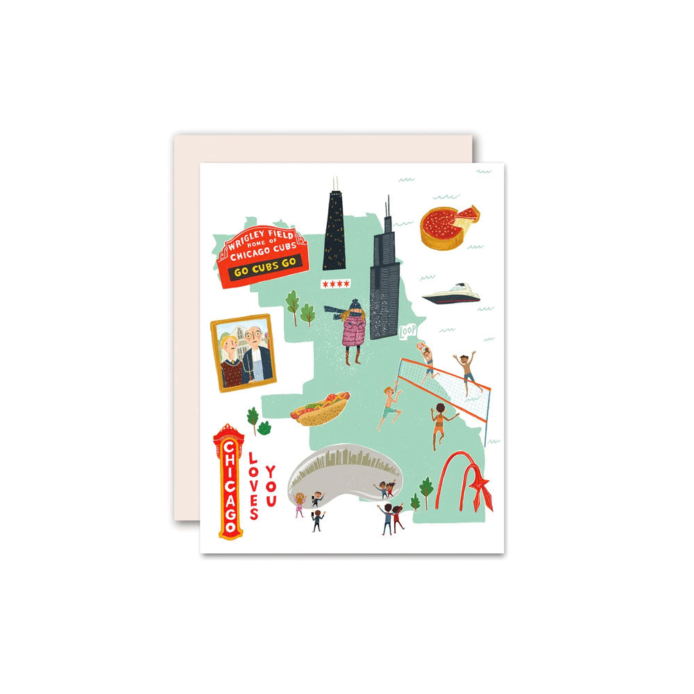 Chicago Loves You Card Pencil Joy - Foursided