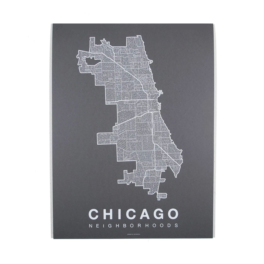 White on Gray Chicago Neighborhoods Print