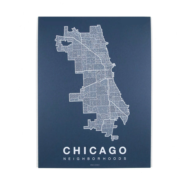 White on Navy Chicago Neighborhoods Print