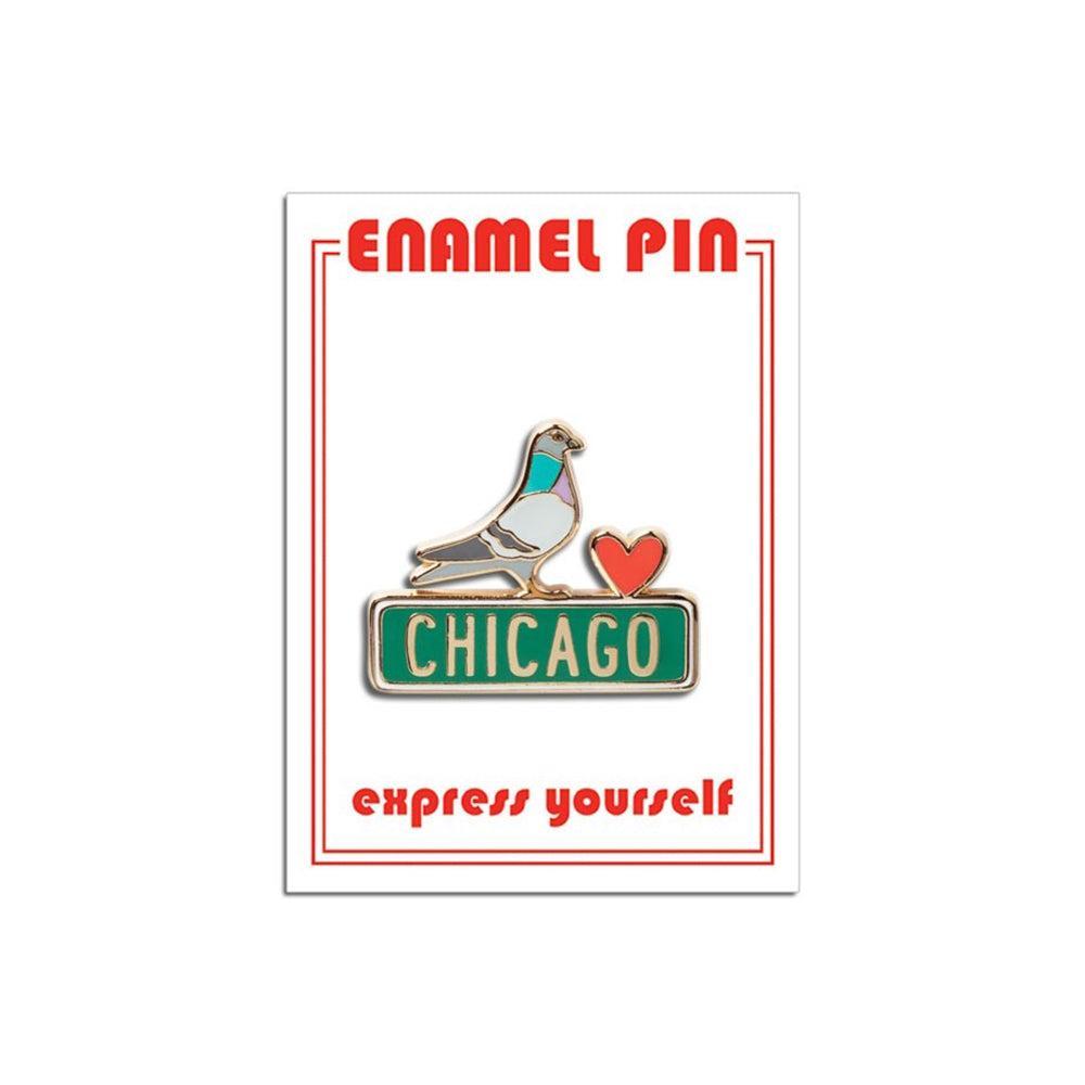 Chicago Pigeon Enamel Pin The Found - Foursided