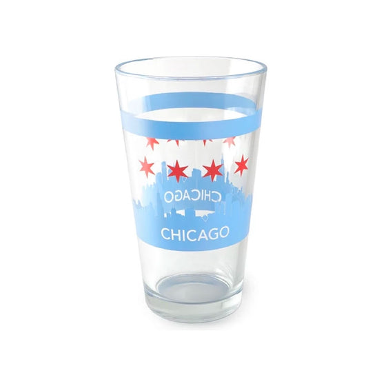 Chicago Skyline Pint Glass Crash Natural Soy Candles - Foursided