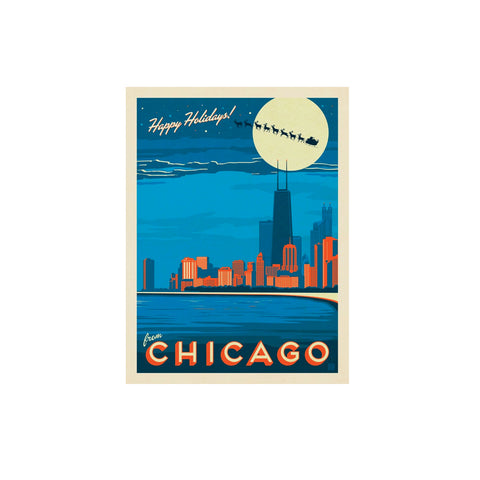 Chicago Skyline Holiday Postcard