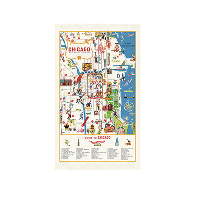 Chicago Map Tea Towel Cavallini - Foursided