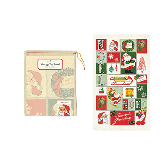 Christmas Tea Towel (various styles) Cavallini - Foursided