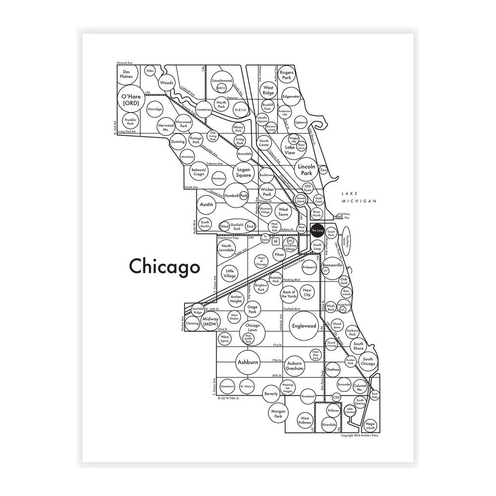 Circle Map of Chicago Print Archie's Print - Foursided