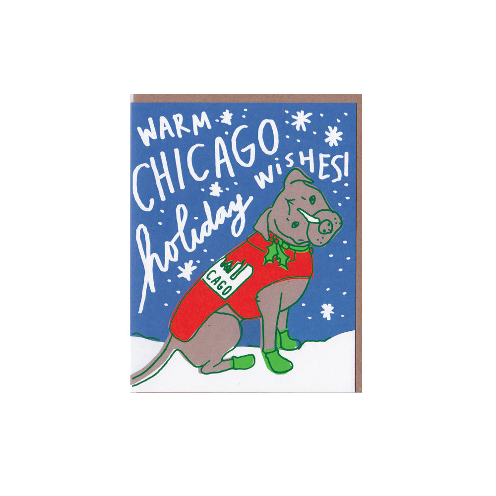Chicago Holiday Dog Card La Familia Green - Foursided