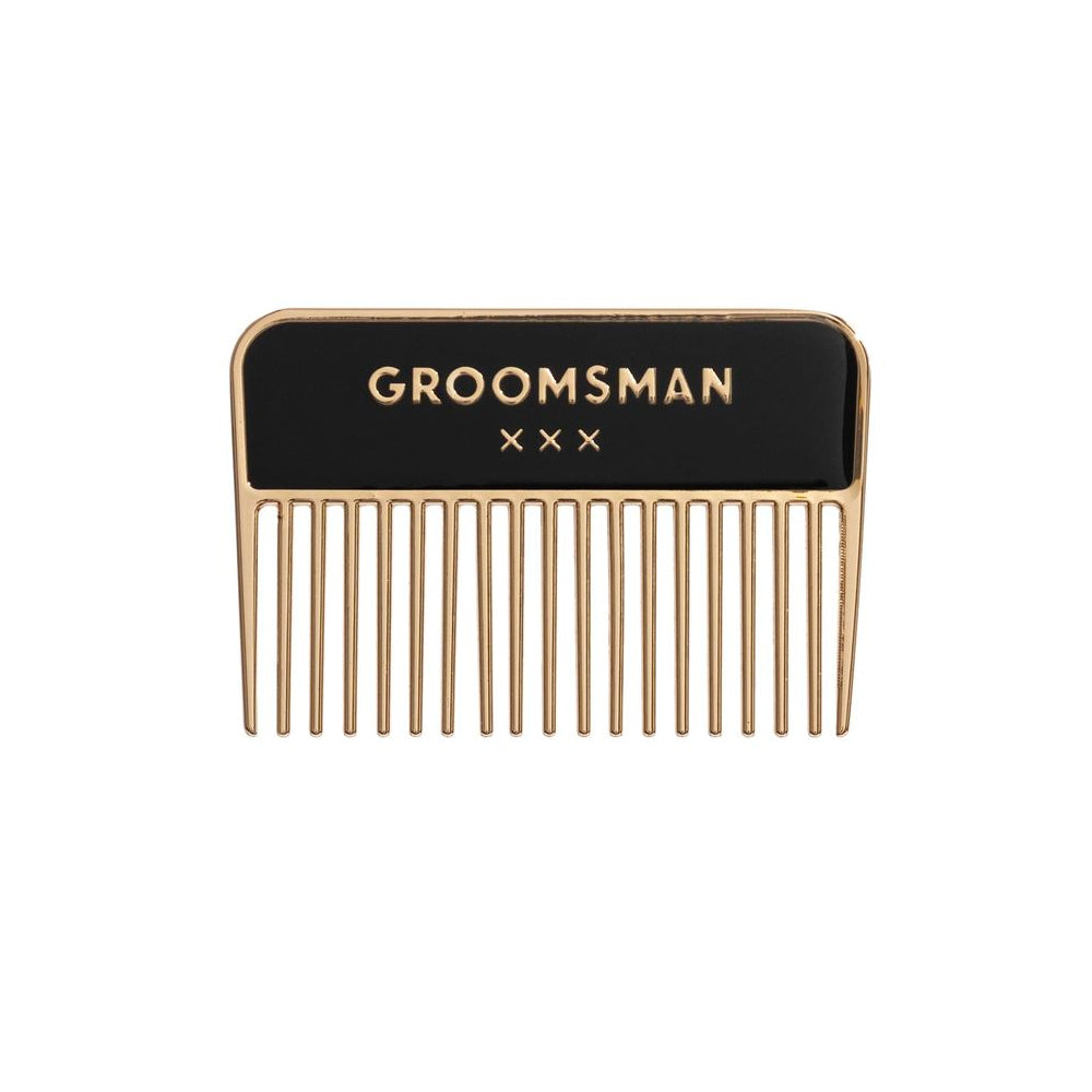 Groomsman Metal Beard Comb Easy, Tiger - Foursided