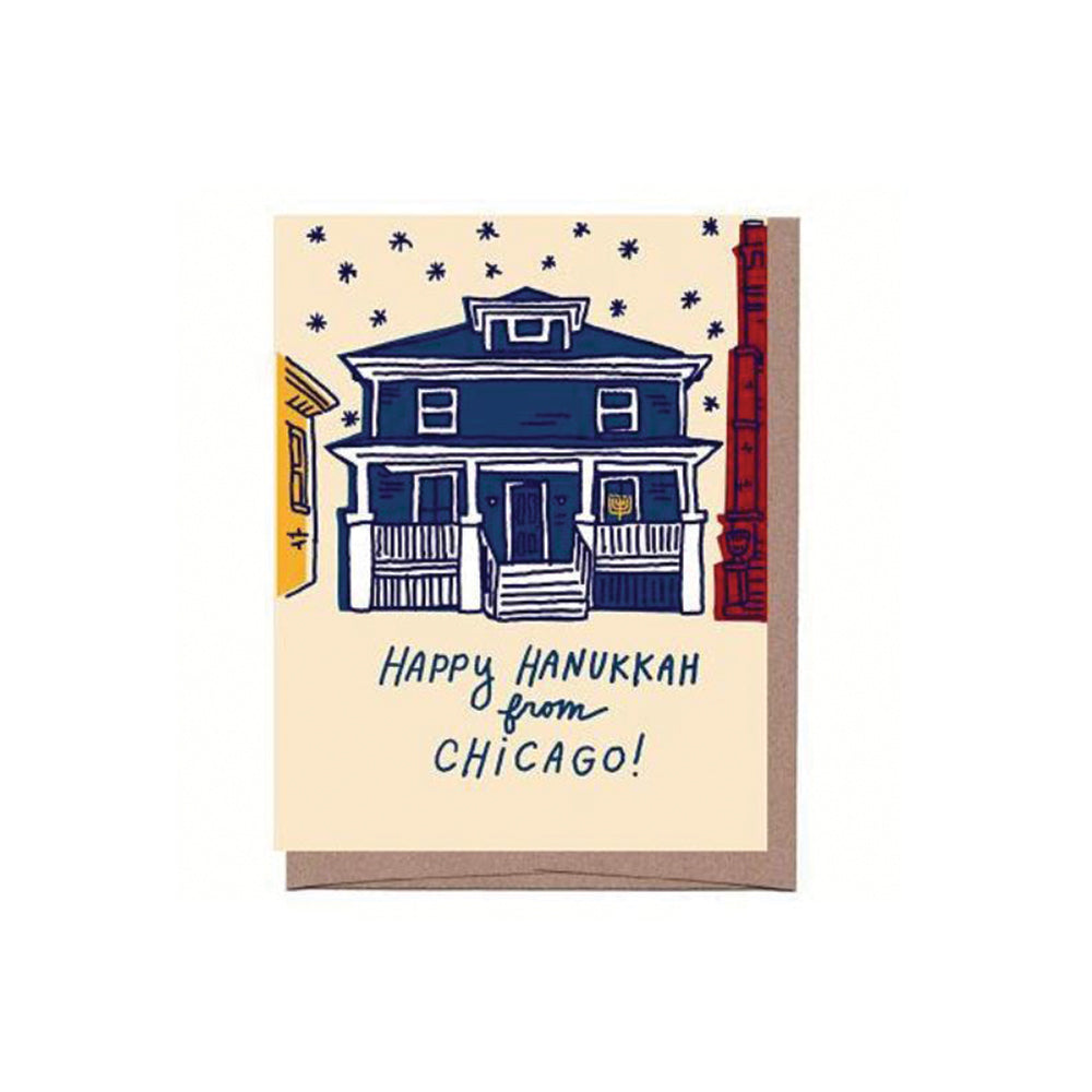 Happy Hanukkah from Chicago Card Set (8) La Familia Green - Foursided