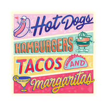 Hot Dogs, Hamburgers, Tacos, and Margaritas Penguin - Foursided