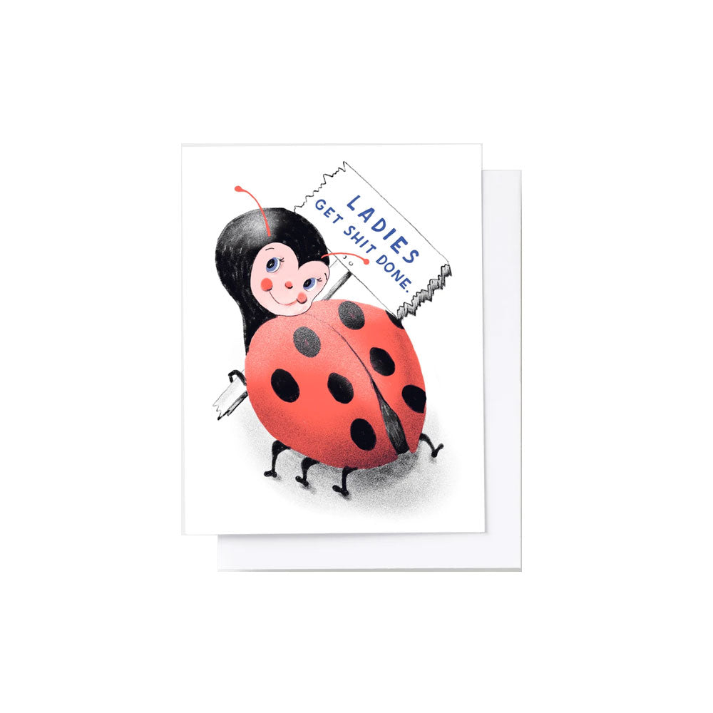 Ladybug Get Shit Done Card Yellow Owl Workshop - Foursided