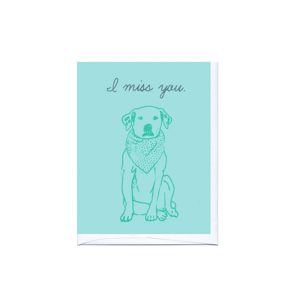 Miss You Dog Card La Familia Green - Foursided