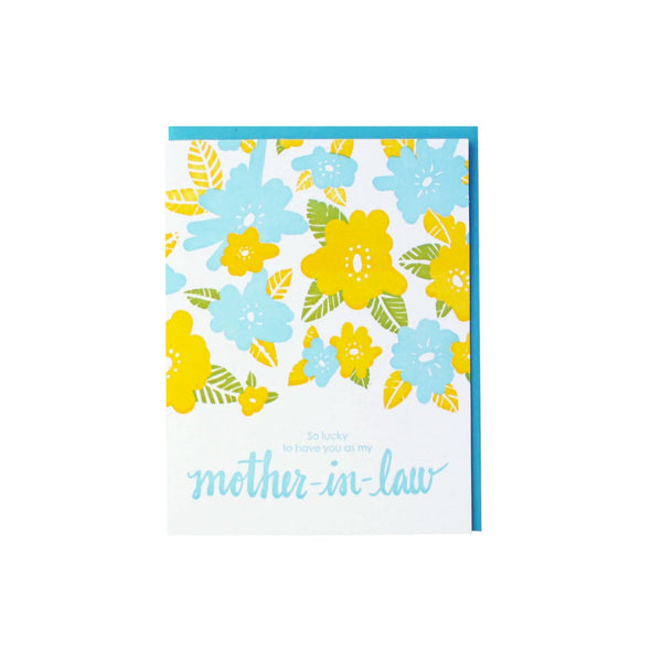 Floral Mother-In-Law Card Smudge Ink - Foursided