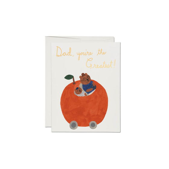 Orange Car Dad Card Red Cap Cards - Foursided