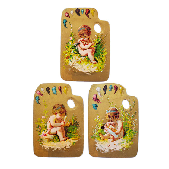 Vintage Gold Paper Artist Palette with Cherubs