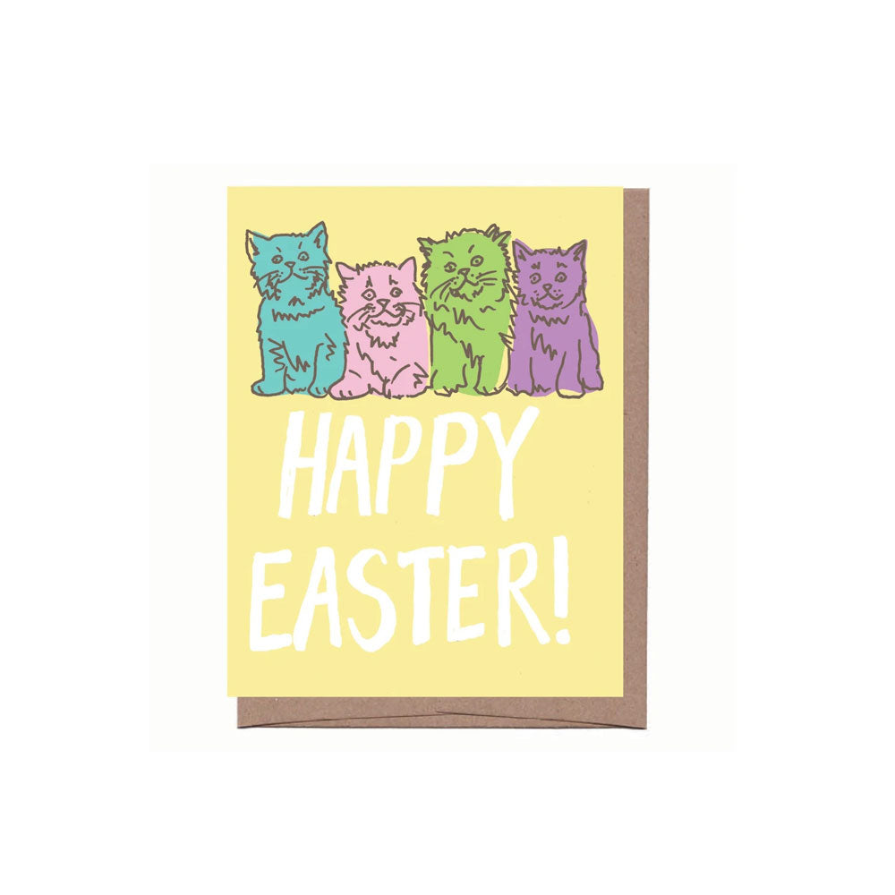 Pastel Cats Easter Card La Familia Green - Foursided