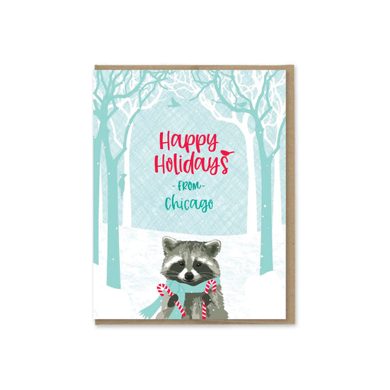 Holiday Raccoon Chicago Card