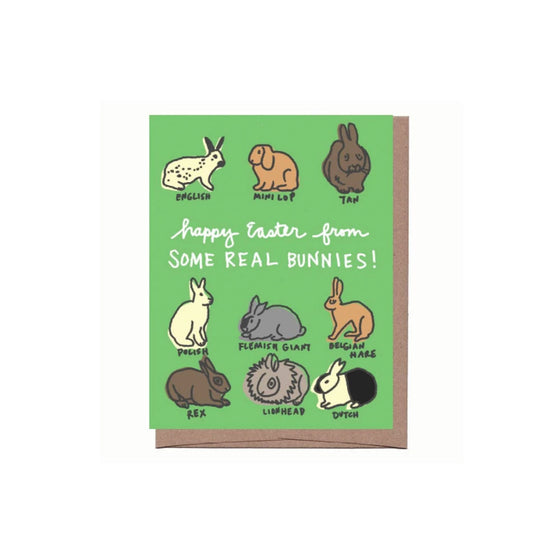 Real Bunnies Easter Card La Familia Green - Foursided