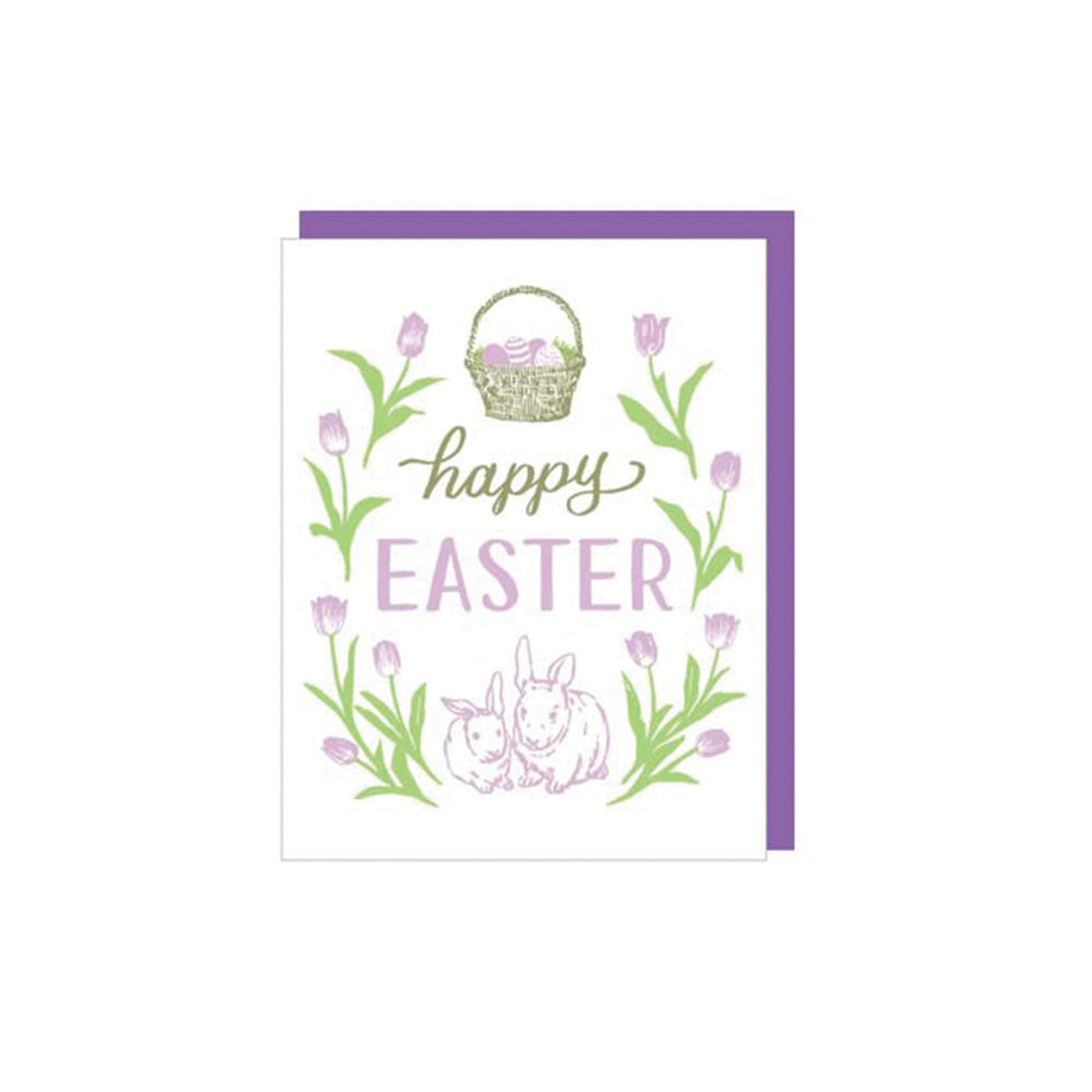 Pastel Bunnies Easter Card smudge ink - Foursided