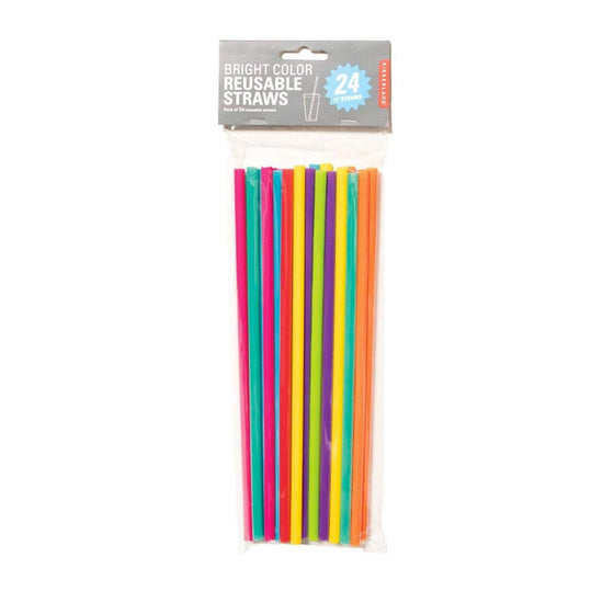 "11"" Rainbow Reusable Straws (24 Pack)"