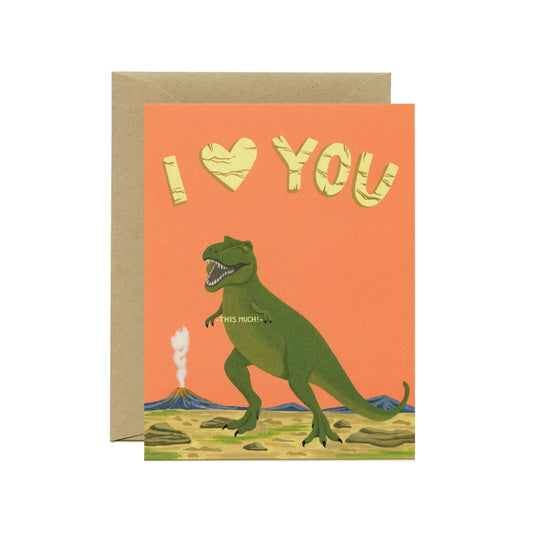 T-Rex Love Card Yeppie Paper - Foursided