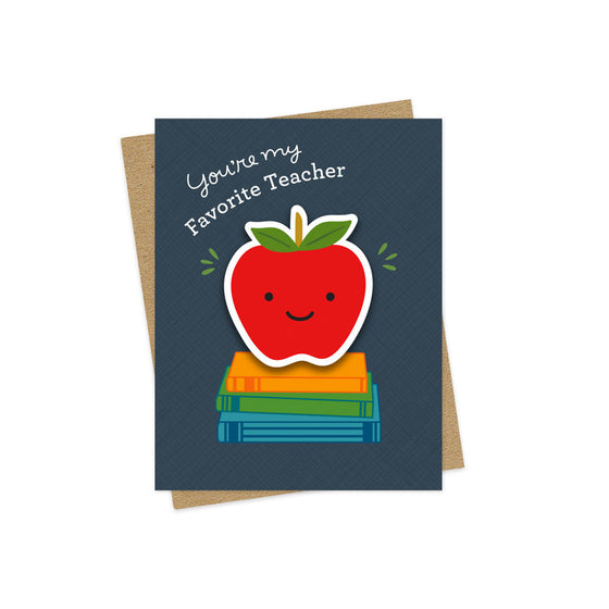 Favorite Teacher Apple Sticker Card