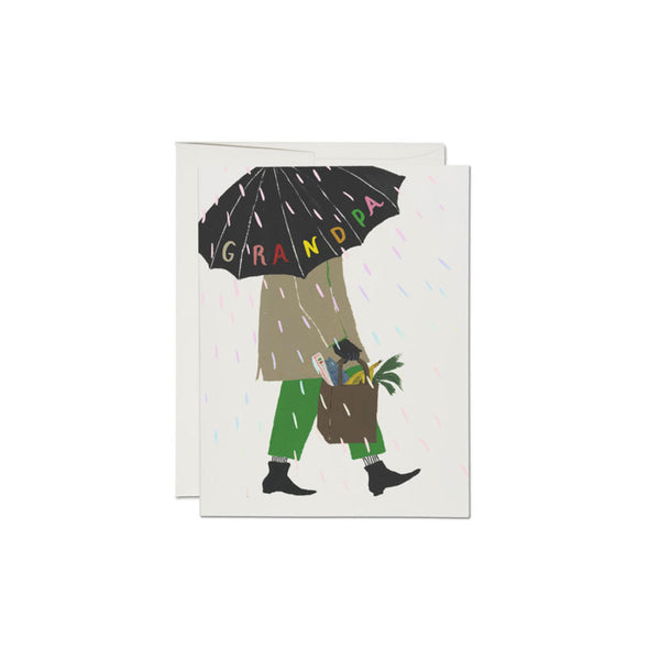 Grandpa's Umbrella Card Red Cap Cards - Foursided