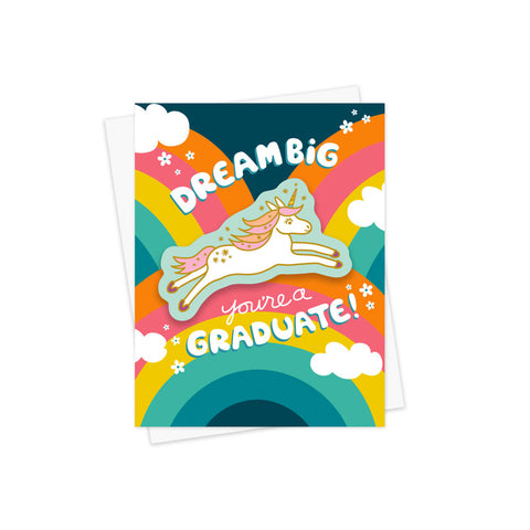 Unicorn Sticker Graduation Card