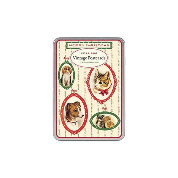Vintage Christmas Cats & Dogs Postcard Set