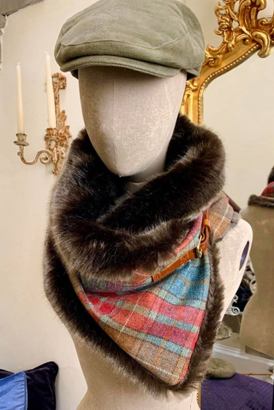 Tweed & Faux Fur Cowl Snood