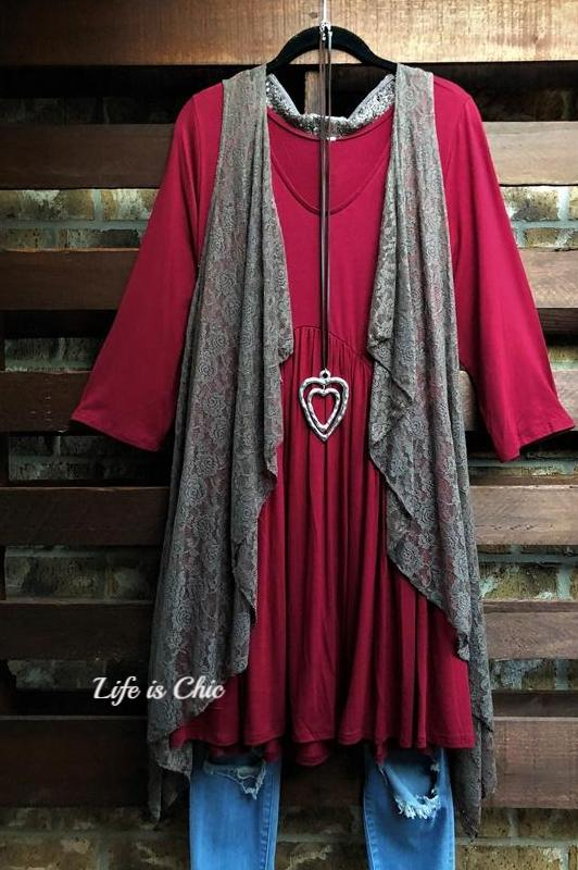 CASUAL FOR WEEKEND DRESS IN BURGUNDY [product vendor] - Life is Chic Boutique