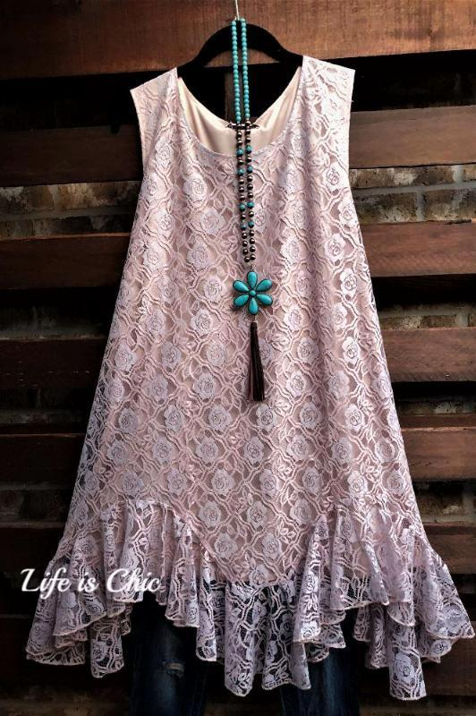 MORNING MUSE IN ROSES LACE RUFFLED DRESS IN LAVENDER