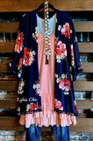 ORCHID BLOOM POM POM FRINGE KIMONO IN NAVY BLUE