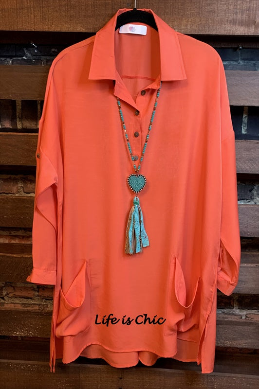 LIFETIME OF JOY LIGHTWEIGHT SHIRT TUNIC PATCHED POCKETS IN CORAL