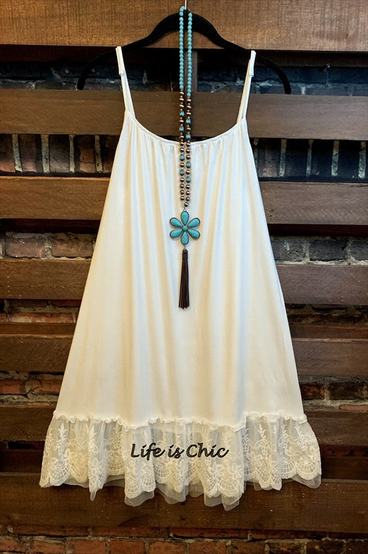 SO THIS IS LOVE LACE SLIP DRESS EXTENDER IN WHITE