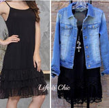 LOVE OF MY LIFE LACE SLIP DRESS EXTENDER TOP IN BLACK