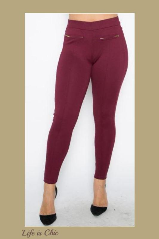 THE PERFECT HIGH WAIST PANTS LEGGINGS PLUS SIZE IN BURGUNDY [product vendor] - Life is Chic Boutique