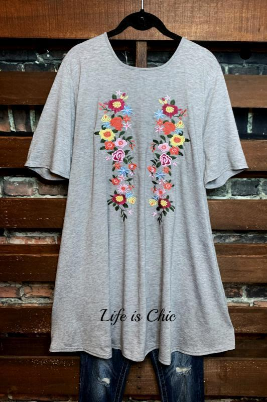 EVERYDAY PRETTY AND COMFY EMBROIDERED DRESS IN GRAY
