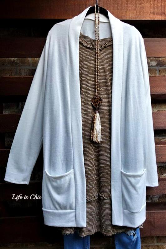 KEEP IT COZY CARDIGAN SOFT AND PATCHED POCKETS IN IVORY [product vendor] - Life is Chic Boutique
