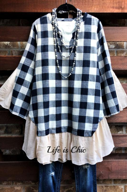 CLASSIC IN EVERY MOMENT BEIGE AND NAVY BLUE TOP [product vendor] - Life is Chic Boutique