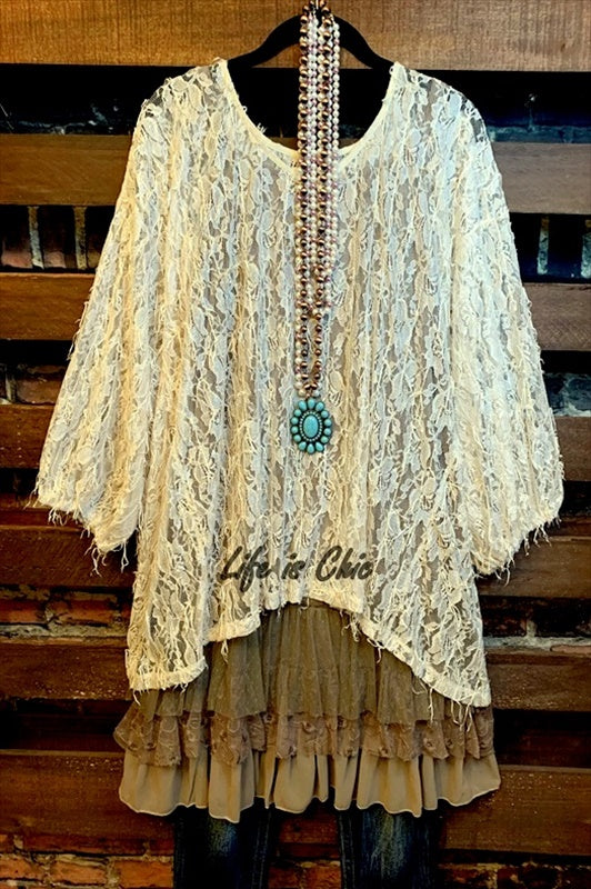 ALL THE PRETTY THINGS FRINGE DETAIL LACE TOP IN BEIGE