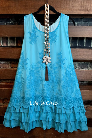 IT'S SO SWEET BOHO EMBROIDERED INDIGO BLUE DRESS